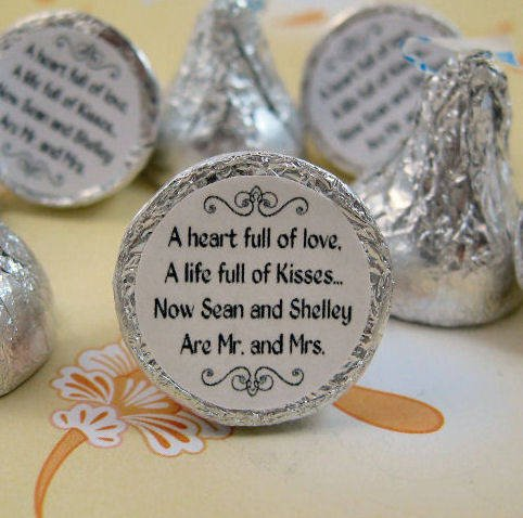 Personalized Round Sticker Labels for Hershey Kiss Favors - Customer ...