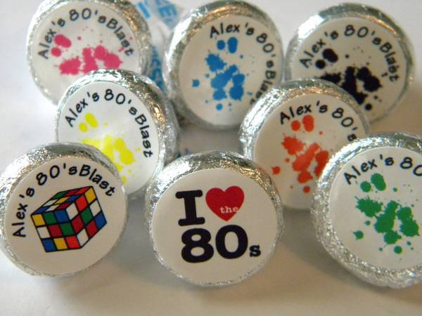 I Love The 80's Hershey Kisses Favor Labels