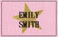 Pink Crocodile With Gold Glitter Star - Bat Matzvh Favor Labels