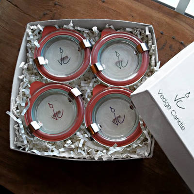 Vedge Candle - Clear Round Candle Jar Lid Labels