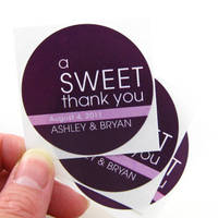 A Sweet Thank You Circular Wedding label