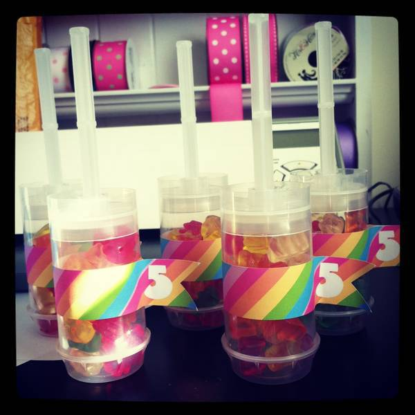 Rainbow Care Bear Labels for Gummy Bear Push Pops by She's Kinda Crafty