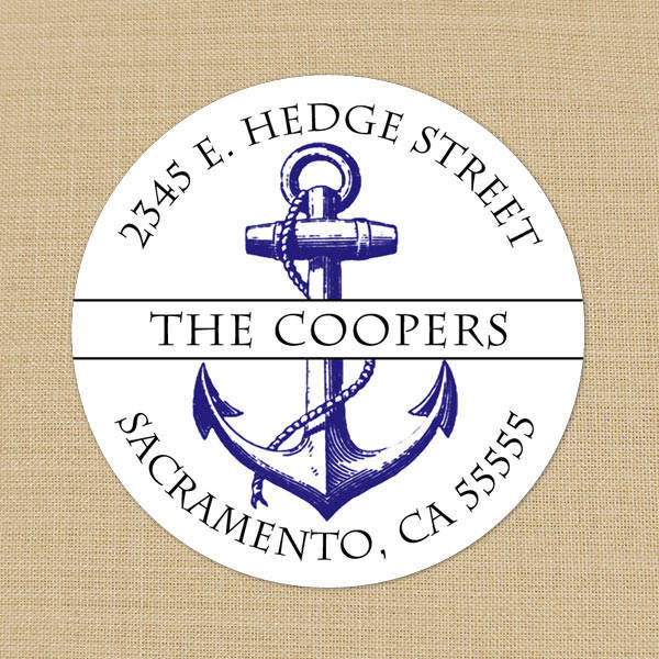 Round Address Labels Featuring Nautical Anchor