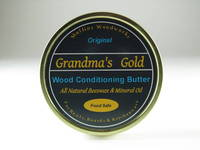 Tin Container Labels on Grandma's Gold Original Wood Conditioning Butter