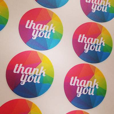 Rainbow Thank You Labels