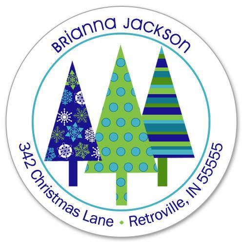 Christmas Tree Trio: Retro Christmas Tree Trio Labels