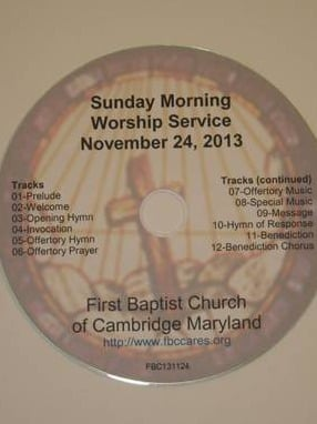 First Baptist Church Worship Service CD Label