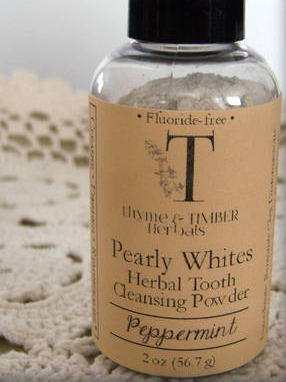 Labels for Pearly Whites Herbal Tooth Powder by thyme&TIMBER