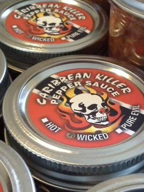 Caribbean Killer Pepper Sauce Lid Labels