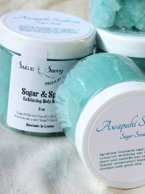 Awapuhi Seaberry Emulsified Sugar Scrub labels by Sage & Savvy Soap Co.