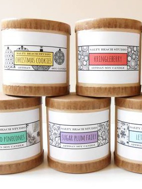 Salty Beach Studio Holiday Soy Candle Collection Labels