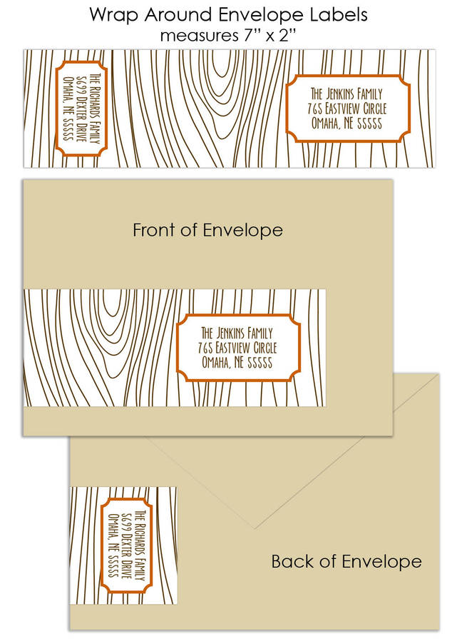 faux bois wood grain custom wrap around envelope labels customer