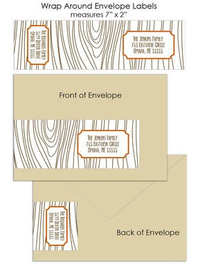 Faux Bois Wood Grain Custom Wrap Around Envelope Labels