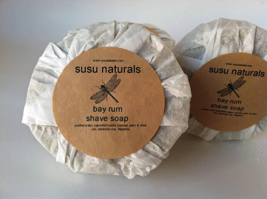 susu naturals round shaving soap label