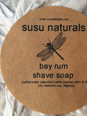 Susu Naturals Round Shaving Soap Label