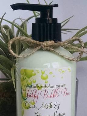 Chubby Bubble Bars Goat Milk & Honey Lotion label