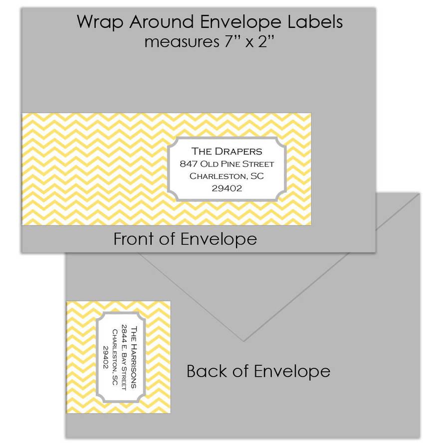 retro chevron custom wrap around envelope labels by posh girl