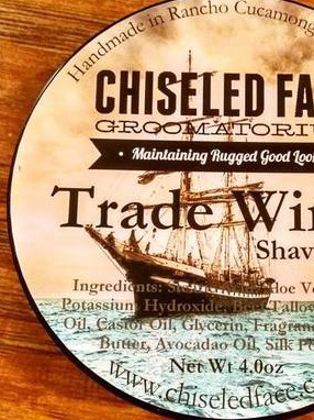 Chiseled Face Trade Winds Shaving Soap Labels