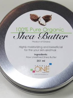 Scented One Organic Shea Butter Label