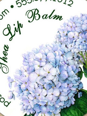 Round Product Labels with Blue Hydrangea Blooms