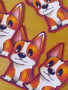 Hand-cut corgi stickers