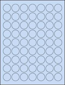 """Sheet of 1"""" Circle Pastel Blue labels"""