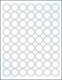 """Sheet of 1"""" Circle Clear Gloss Laser labels"""