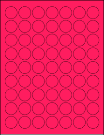 """Sheet of 1"""" Circle Fluorescent Pink labels"""