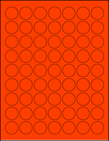 """Sheet of 1"""" Circle Fluorescent Red labels"""