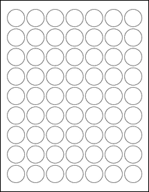 """Sheet of 1"""" Circle 100% Recycled White labels"""