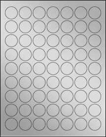 "Sheet of 1"" Circle Weatherproof Silver Polyester Laser labels"