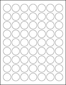 "Sheet of 1"" Circle Aggressive White Matte labels"