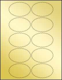 """Sheet of 3"""" x 2"""" Gold Foil Inkjet labels"""