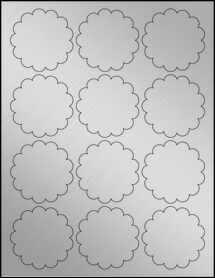 "Sheet of 2.5"" Weatherproof Silver Polyester Laser labels"