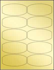 """Sheet of 3.875"""" x 1.875"""" Gold Foil Inkjet labels"""