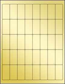 """Sheet of 1"""" x 2"""" Gold Foil Laser labels"""