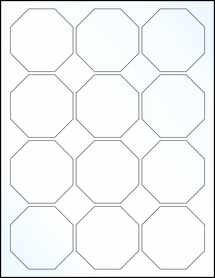 "Sheet of 2.5"" x 2.5"" Clear Gloss Inkjet labels"