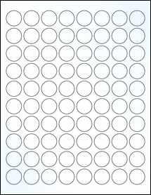 "Sheet of 0.88"" Circle Clear Gloss Inkjet labels"