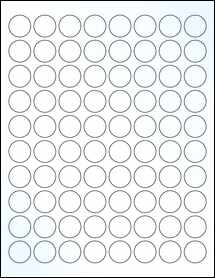 """Sheet of 0.88"""" Circle Clear Gloss Laser labels"""