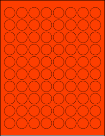 """Sheet of 0.88"""" Circle Fluorescent Red labels"""