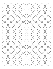 """Sheet of 0.88"""" Circle Removable White Matte labels"""