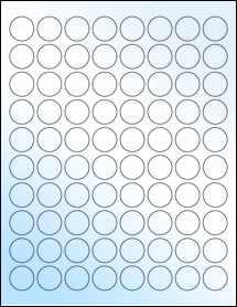 "Sheet of 0.88"" Circle White Gloss Laser labels"