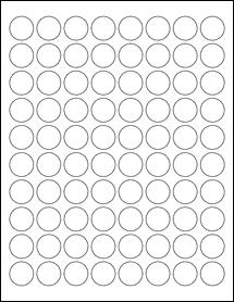 "Sheet of 0.88"" Circle Aggressive White Matte labels"