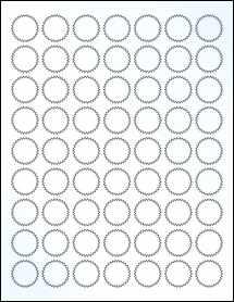 """Sheet of 1"""" Starburst Clear Gloss Inkjet labels"""
