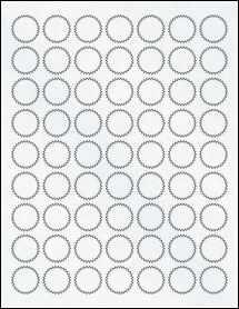 """Sheet of 1"""" Starburst Clear Matte Laser labels"""