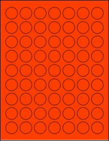 "Sheet of 1"" Starburst Fluorescent Red labels"