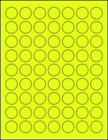 "Sheet of 1"" Starburst Fluorescent Yellow labels"