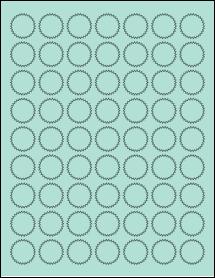 """Sheet of 1"""" Starburst Pastel Green labels"""