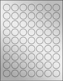 """Sheet of 1"""" Starburst Silver Foil Inkjet labels"""