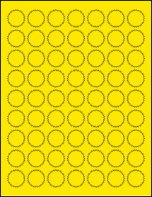 "Sheet of 1"" Starburst True Yellow labels"